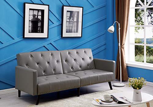 Naomi Home Convertible Tufted Futon Sofa Gray/Faux Leather