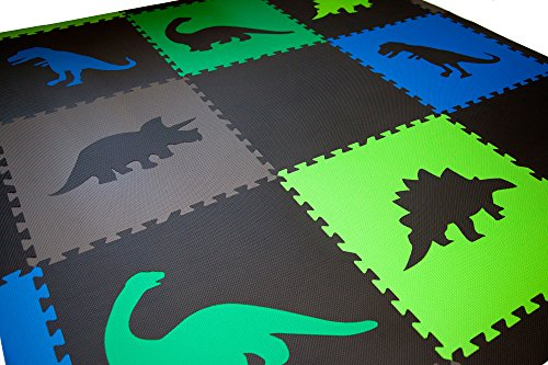 SoftTiles Children's Foam Playmat - Jurassic Dinosaur Theme - Non-Toxic Interlocking Floor Tiles for Toddler Playrooms/Baby Nursery - Black, Blue, Green, Lime, and Gray (6.5' x 6.5') SCDBGLG by SoftTiles (Image #2)