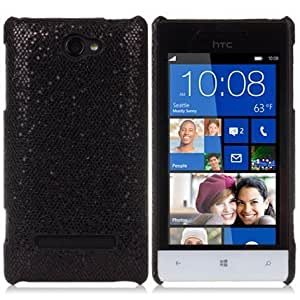 Quaroth Black Glitter Design Protective Leather Back Case For HTC Windows Phone 8S