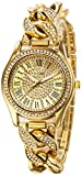 Fanmis Women's Analog Display Luxury Iced Out Pave Floating Crystal Gold Tone Link Bracelet Quartz Watch