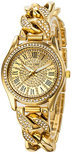 Gold Tone Floating Crystal Watch - Fanmis Women's Analog Display Luxury Iced Out Pave Floating Crystal Gold Tone Link Bracelet Quartz Watch