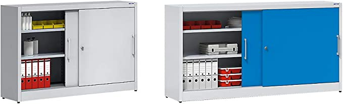 eurokraft armario de puertas correderas – con pared (mediana y 2 x 2 estantes, H x L 1000 x 1500 mm, profundidad 500 mm, puertas gris claro RAL 7035 – Armario Armario