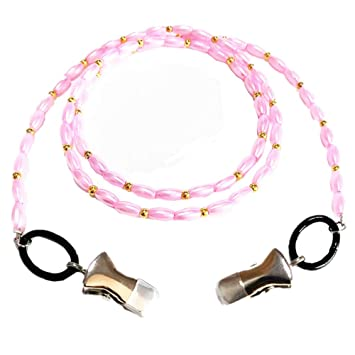 d40e102cfd2 Faux Pearl Eyeglass Holder Clip Strap Sunglass Chain Eyewear Retainer Cord  Beads Lanyards for Keys ID