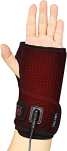 Creatrill Hand and Wrist Heated Wrap with 3 Level Controller - Brace with Pads for Moist Heat Therapy, Perfect for Arthritis, Carpal Tunnel Pain, Tendonitis, Chronic Injuries, Bruises, Sprains (Hand)