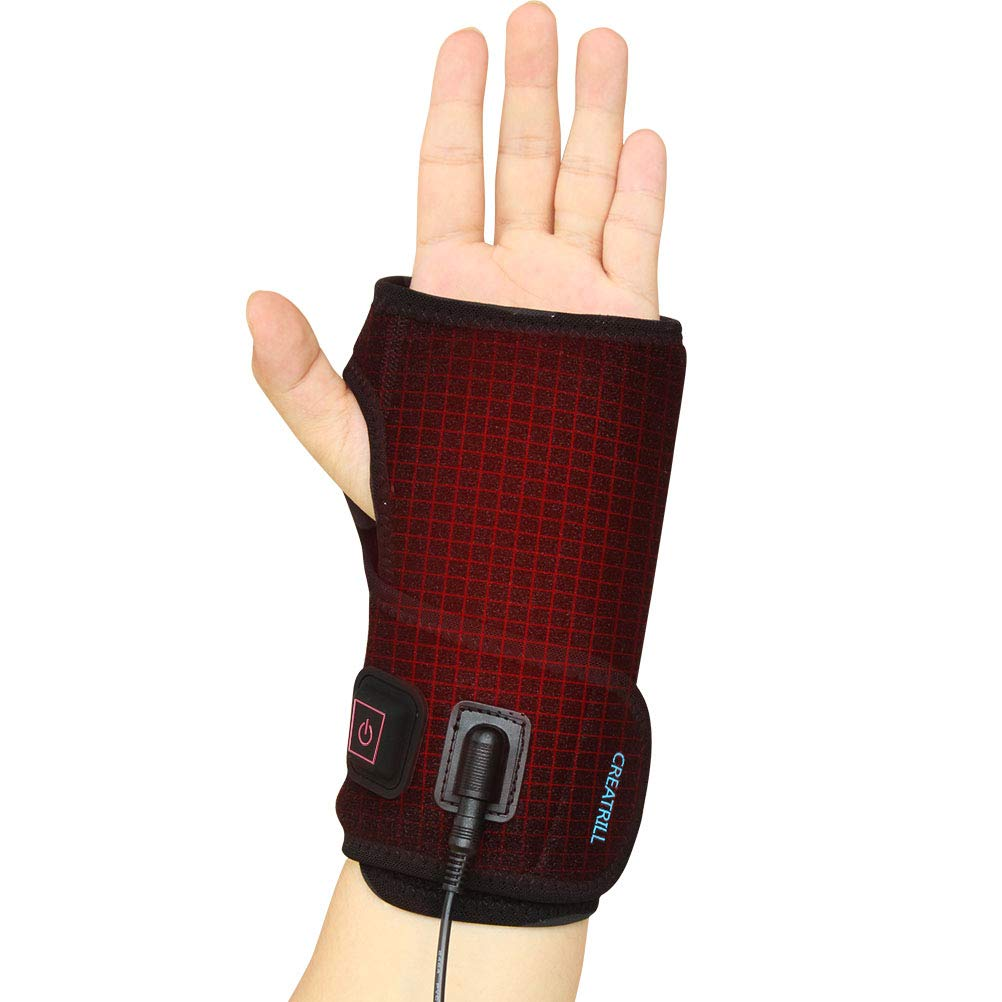Creatrill Hand and Wrist Heated Wrap with 3 Level Controller - Brace with Pads for Moist Heat Therapy, Perfect for Arthritis, Carpal Tunnel Pain, Tendonitis, Chronic Injuries, Bruises, Sprains (Hand) by CREATRILL