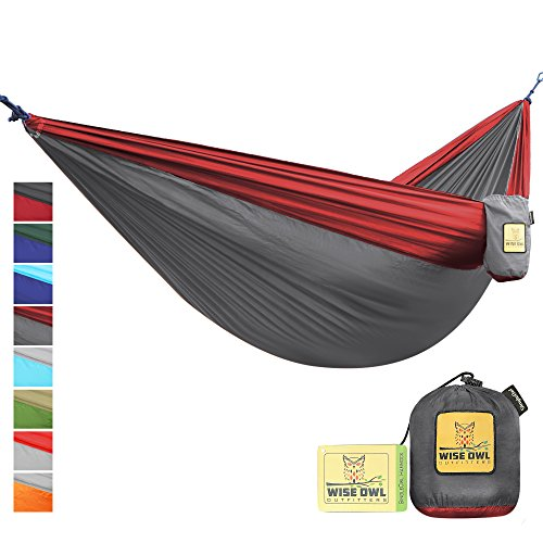 Wise Owl Outfitters Portable Lightweight Parachute Nylon Fabric Hammock with Ropes and Carbines, SingleOwl, Charcoal Grey & Crimson Red