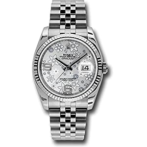 Rolex Oyster Perpetual Datejust 36mm Stainless Steel Case, 18K White Gold Fluted Bezel, Silver Floral Dial, Arabic Numeral and Jubilee Bracelet.