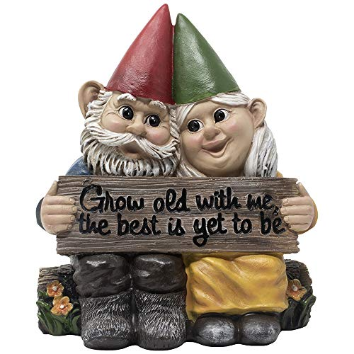 Sweetest Day Ideas (Romantic Gnome Couple Figurine on Log Bench with Sign Reading