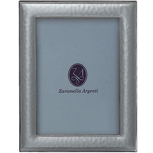 (Paris Hammered Sterling Silver with Braid Border Wallet Size Frame by Zaramella Argenti - 2.5x3.5 )