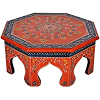 Ethnic Hand Painted Work Design Decorative Round Pooja Chowki Bajot 14 X 14 X 6 Inches