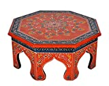 Cheap Lalhaveli Ethnic Hand Painted Work Design Decorative Round Pooja Chowki Bajot 14 X 14 X 6 Inches