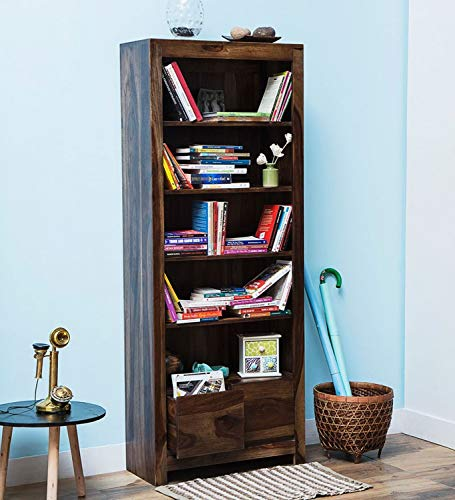 Shagun Arts Sheesham Wood Open Book Shelf | Living Room Bookcase with 4 Shelves   2 Drawer Storage | Brown Finish