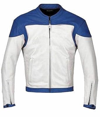 Classyak pour Homme Mode Blanc et Bleu pour Moto en Cuir