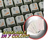 ARABIC KEYBOARD STICKERS WITH ORANGE LETTERING TRANSPARENT BACKGROUND FOR DESKTOP, LAPTOP AND NOTEBOOK