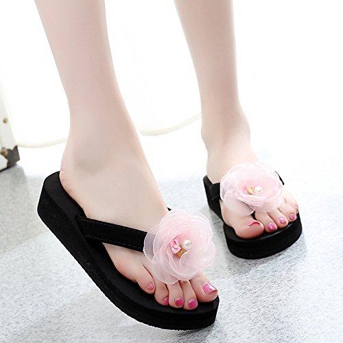 女性の夏フラット滑り止めの花厚い底海水浴場の靴 (色 : 9, サイズ さいず : EU38/UK5.5/CN38)