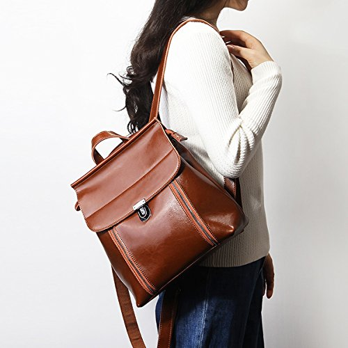 Sac E Sac LF cuir en portés Girl fashion 8965 dos main femme Marron à Hq14qSnB
