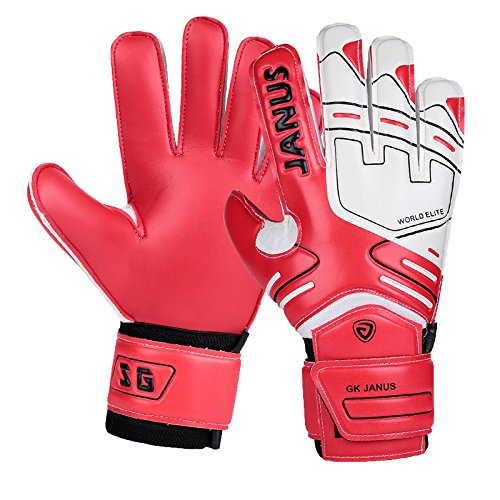 - Professional Goalkeeper Gloves with Finger Splines Finger Protection, Youth and Adult, with Free Reaction Ball (7, Red)