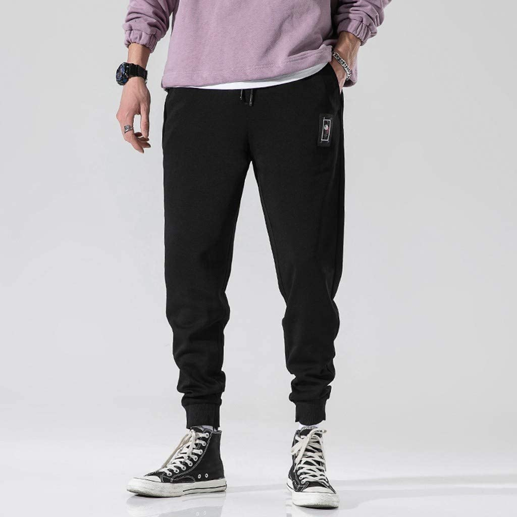 Mens Gym Jogger Pants Training Workout Slim Fit Sweatpants Causal Harem Trousers EINCcm Solid Color Sweatpants for Men