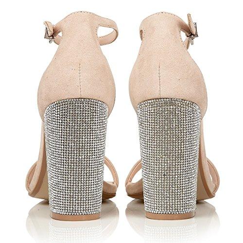 DolcisTiara - Zapatos con tacón mujer Beige - beige