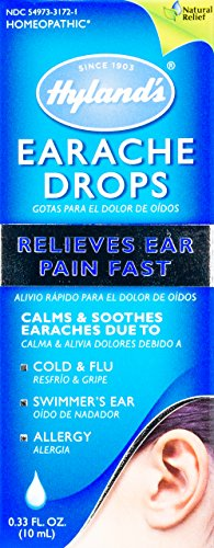 Hyland's Earache Drops, Natural Relief of Cold & Flu Earaches, Swimmers Ear and Allergies Relief for Adults and Children, 0.33 Ounce (Ear Swimmers Homeopathic)