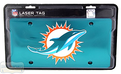 Miami Dolphins Officially Licensed NFL Laser Tag Mirror License Plate - Teal