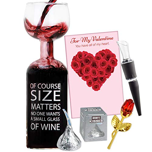 Valentine Gift Set for Wine Lovers, 5 Piece Bundle Includes Wine Aerator, Ultimate Giant Wine Bottle Glass, Pretty 3