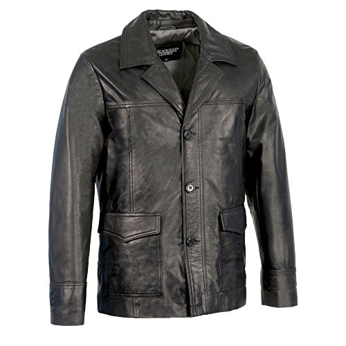 Milwaukee Leather Men's Leather Car Coat Jacket With Button Front (Black, X-Large)