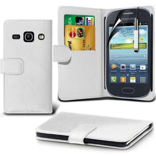 Samsung Galaxy Fame 6810 Cubierta del caso con cuero (Blanco) Plus de regalo libre, Protector de pantalla y un lápiz óptico, Solicitar ahora mejor caja del teléfono Valorado en Amazon! By FinestPhoneC
