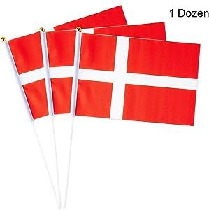 Mflagperft Denmark Flag Danish Dane Small Stick Mini Hand Held Flags Decorations 1 Dozen (12 Pack)