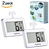 Suplong Digital Refrigerator/Freezer Room Thermometer Large LCD Display Big Digits Easy to Read With Frost Alert Magnetic Back Hanging Hook Retractable Stand -White (White-2)