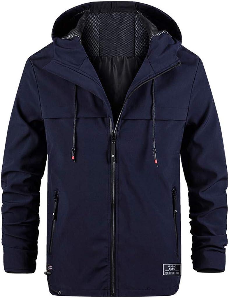 JURTEE Mens Fashion Casual Hoodie Parka Jacket Pure Color Long Sleeve Zipper Cardigan Overcoat Outwear Coat with Pocket