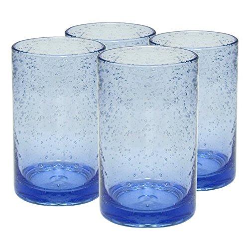 Artland Iris Seeded Light Blue Glass 17 Ounce Highball Tumbler, Set of 6