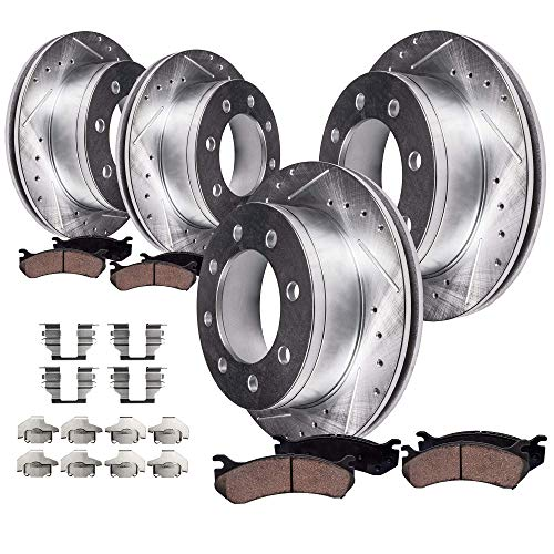 Cab Brake Pad - Detroit Axle - All (4) Front and Rear Drilled and Slotted Disc Brake Rotors w/Ceramic Pads w/Hardware for 2006 2007 2008 Dodge Ram 1500 Mega Cab - [2003-2008 Dodge Ram 2500 or 3500]