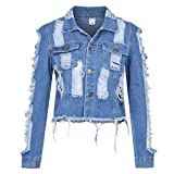 Highpot Women's Ripped Broken Denim Jacket Button Jean Boyfriend Jacket Coats