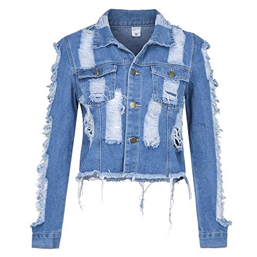 HYIRI Novelty Button Denim Jacket,Women's Casual Hole Coat Pocket Coat Outcoat