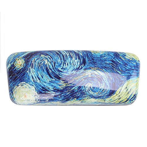 Molshine Oil Painting Pattern Portable Glasses Case for Reading Glasses (A) without glasses (Painting Reading Oil)