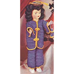 """Vintage Crochet PATTERN to make - 8"""" Doll Clothes Mandarin Coat Pants Hat Miss China. This is a pattern and/or instructions to make the item only."""