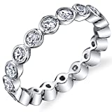 Sterling Silver 925 Bezel Set Eternity Ring Engagement Wedding Band With Cubic Zirconia CZ Size 8
