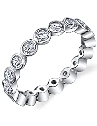 Metal Masters Co.® Sterling Silver 925 Bezel Set Eternity Ring Engagement Wedding Band With Cubic Zirconia CZ