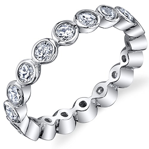 Sterling Silver 925 Bezel Set Eternity Ring Engagement Wedding Band With Cubic Zirconia CZ Size 7