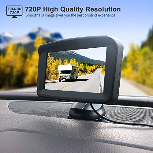 Backup Camera with Monitor License Plate Mounted Digital Reversing observation Camera Night Vision Waterproof Rear View for 5'' LCD Monitor be Used for Safety Driving of Vans,Trucks,Camping Cars,RVs,et by Xroose (Image #2)