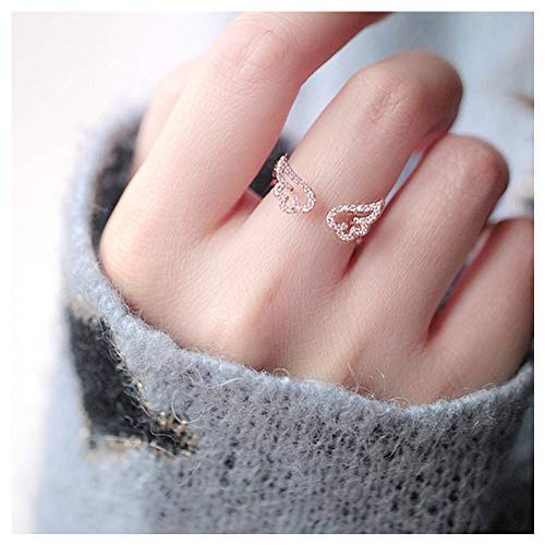 CHICY Lovely Hollow Feather Wing Finger Knuckle Rings Open Crystal CZ Engraved Rose Gold Jewelry