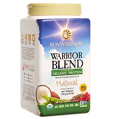 Sunwarrior Warrior Blend, Raw, Plant Based, Organic Protein, Natural, 30 servings