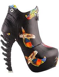 Black/White Zip High-top Bone High Heel Platform Ankle Boots,LF40605