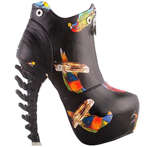 Alto Alla Mostrare top Storia Nero Lf40605 Caviglia Osso Stivali High Tacco Zip Multicolore Uccello Bianco xfxzpnv