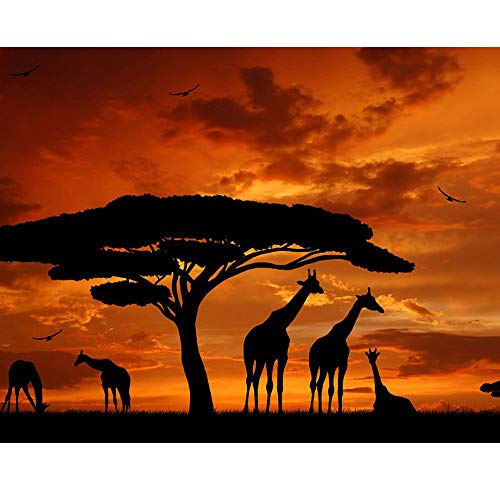 5D Diamond Painting Rhinestone Dusk Tree Giraffe Embroidery Wallpaper DIY Cross Stitch Arts Kit Crystal for KidsFor Adult Decoration Drawing 30X25CM ()