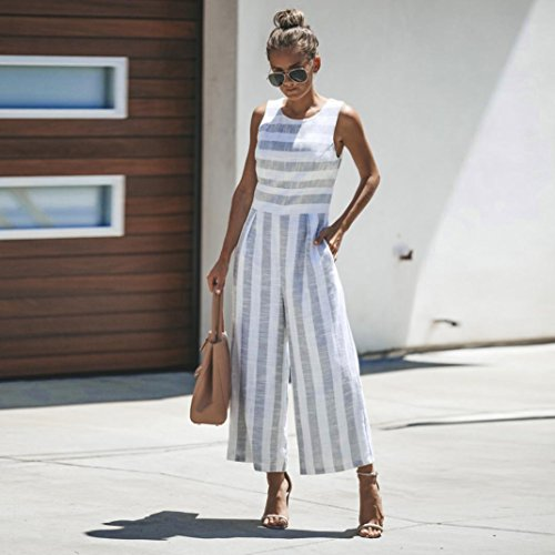 f189e6c72321 vermers Women Casual Clubwear Jumpsuits Summer Sleeveless Striped Wide Leg  Pants Outfit Romper