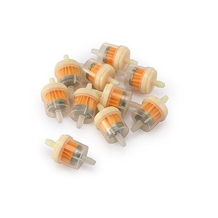 SmartHitech 10 Piezas Interfaz de 6mm Filtro de Aceite del Coche, Gasolina Liquida Combustible Filtro de Aceite del Motor para Motos Scooters Motores.