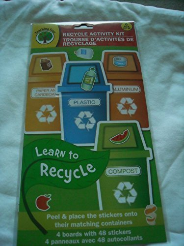 (Teaching Tree Recycling Activity Kit - Peel & Place Stickers on Their Matching Containers - Aluminum, Plastic, Paper & Compost by Teaching Tree)