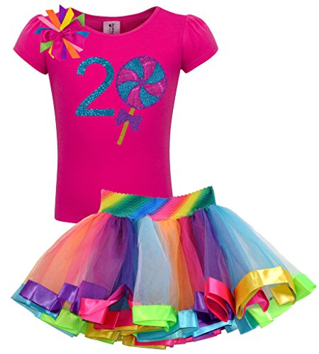Bubblegum Divas Baby Girls' 2nd Birthday Giant Swirly Lollipop Rainbow Tutu Outfit 3 -